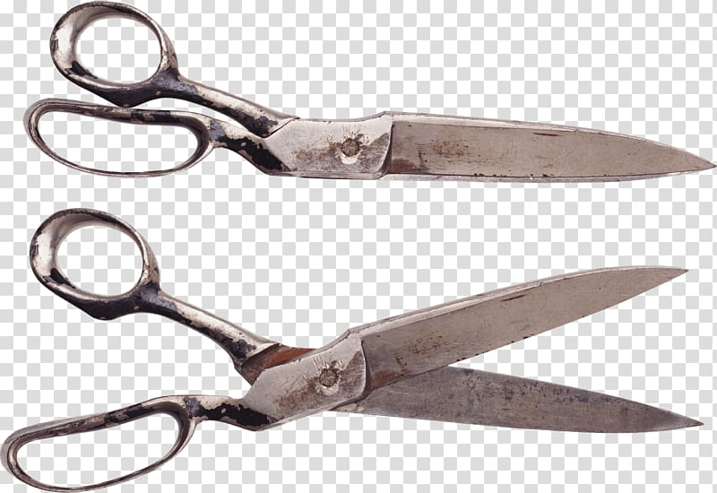 Two gray steel scissors collage, Pair Of Vintage Scissors.