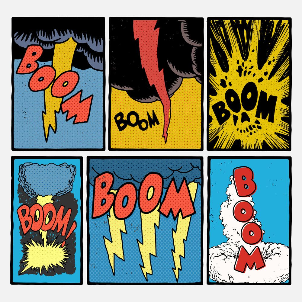 Vintage Comic Book Explosions. Vector Illustration. by.