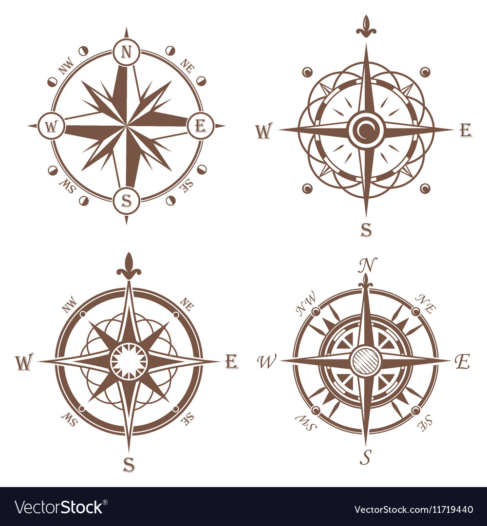 Isolated vintage or old compass rose icons.