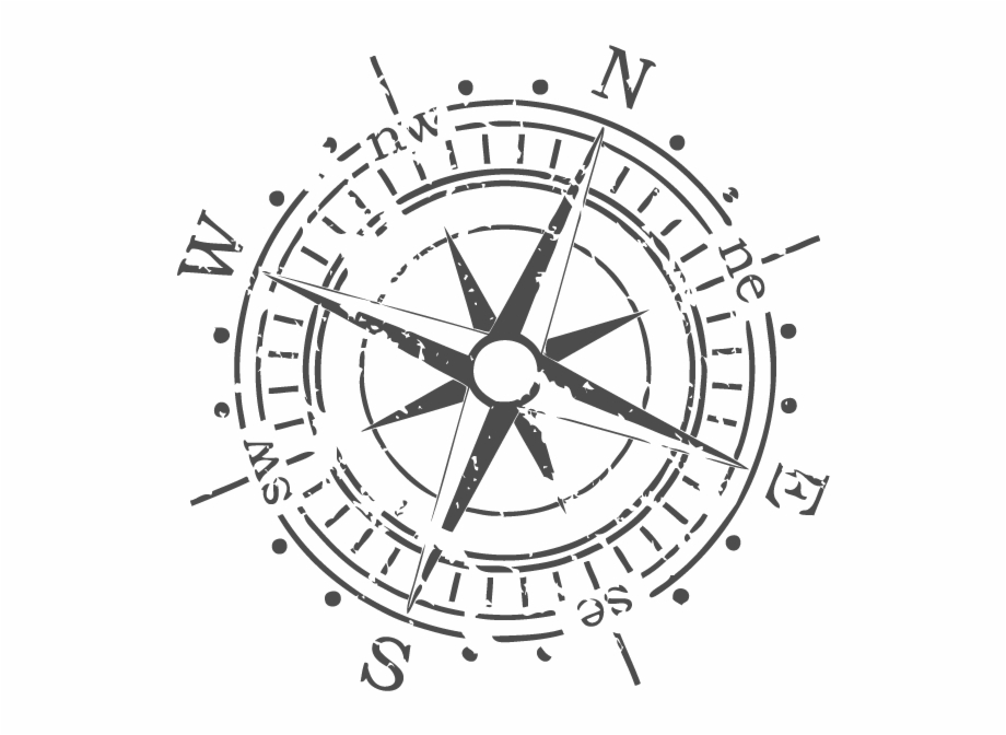 Tumblr Static Vector Compass In Gray Vintage Compass.