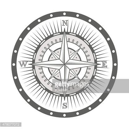 vector nautical label. vintage compass, icon and design.