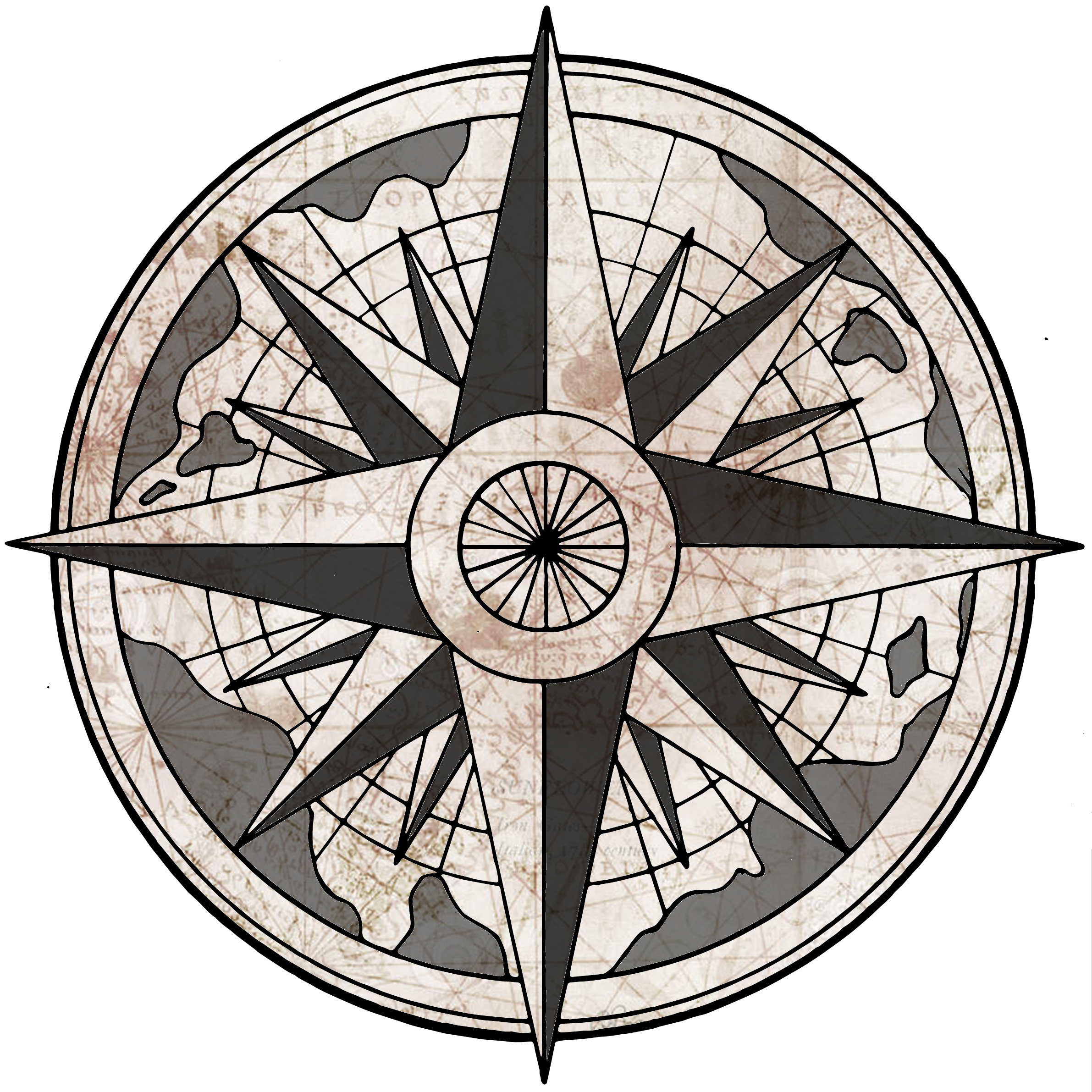Nautical clipart antique compass, Nautical antique compass.