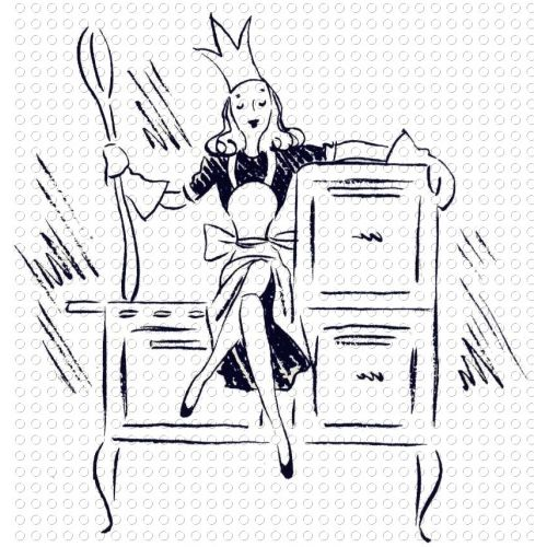Retro Mother Queen of the Kitchen Clip Art.
