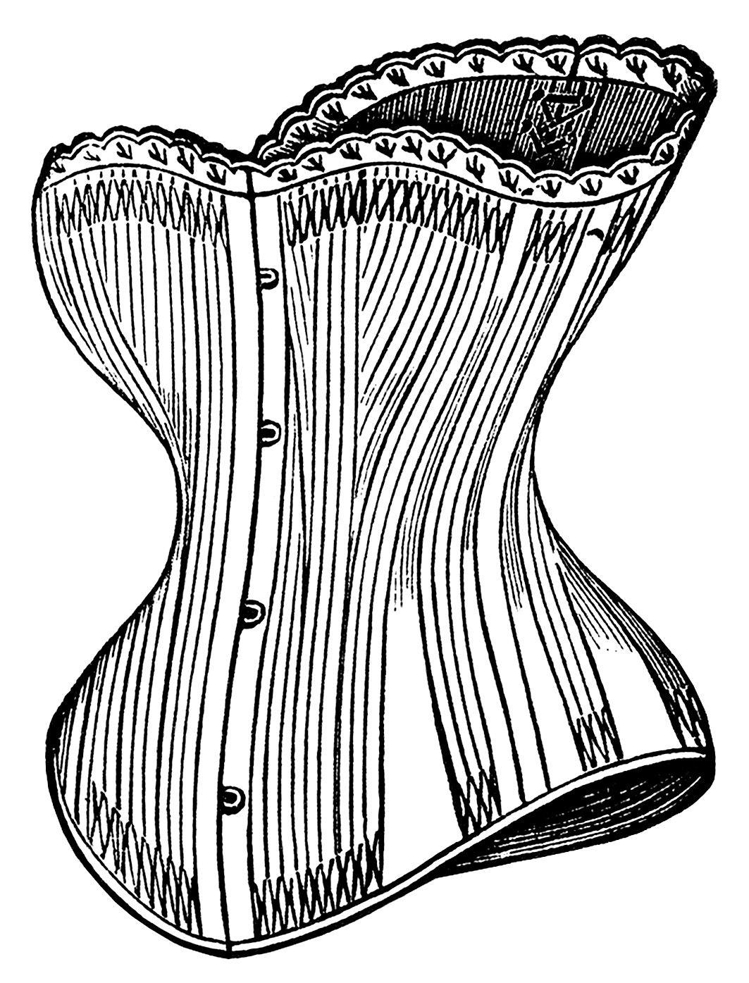 Victorian corset clip art, black and white graphics.