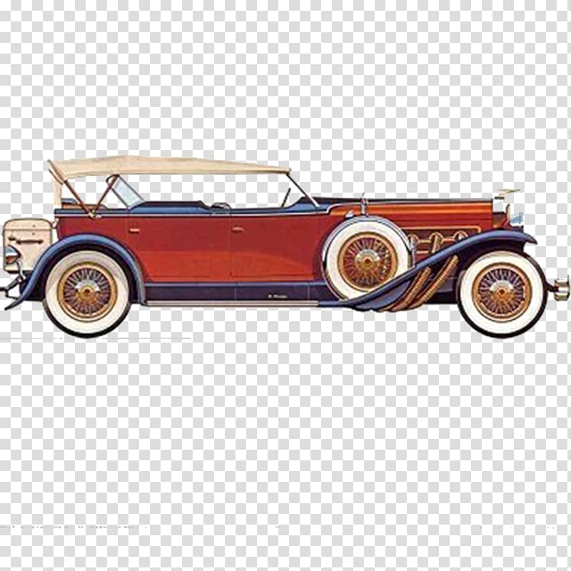 Antique car Duesenberg Printmaking Poster, Retro cartoon.