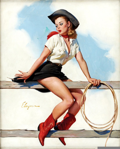 Vintage Cowgirl Pin Up Clipart.
