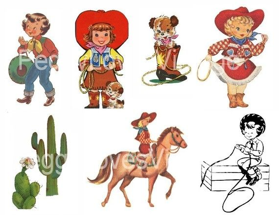 Cowgirls 1 Cut Outs from Vintage Greeting Cards.