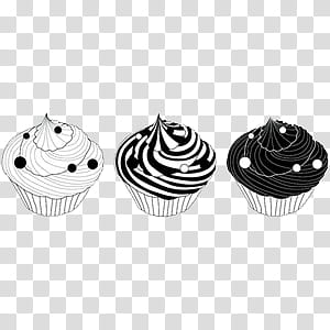 Vintage, three black and white cupcakes transparent.