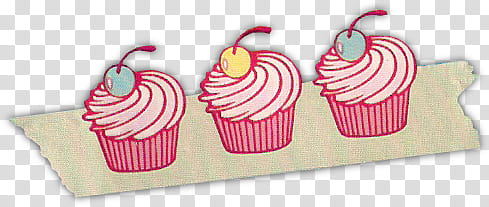 Vintage decors, three pink cupcake illustrations transparent.