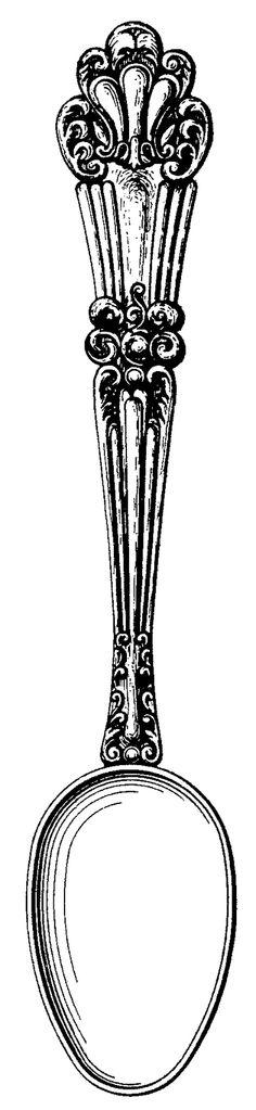 Free vintage clip art images: Vintage cutlery clip art: spoon.