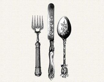 Vintage Cutlery Clip Art.