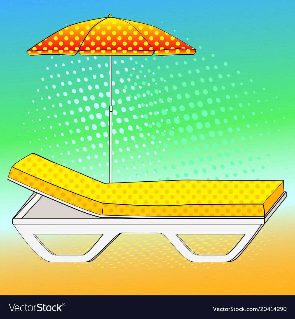 Deck chair under an umbrella on sandy beach comic.