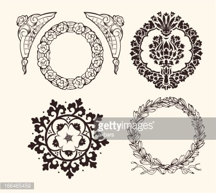 Set Of Four Circle Frames And Vintage Design Elements.