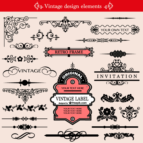 Free Vintage Ornament Design Elements Vector Pack.