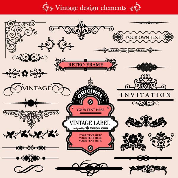 Free Vintage Ornament Design Elements Vector Pack.