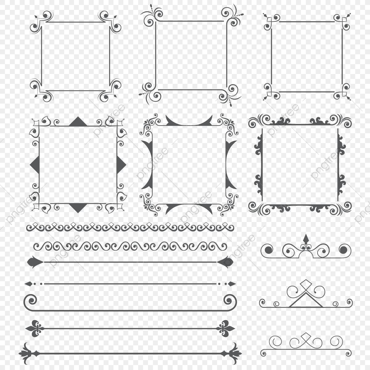 Ornament Frame And Dividers Design Elements, Ornament, Swirl.