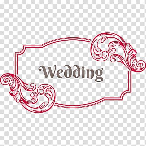 Red wedding border frame, Euclidean Designer, Vintage.