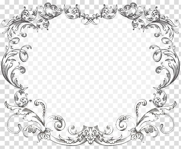 White floral frame illustration, Wedding invitation Ornament.