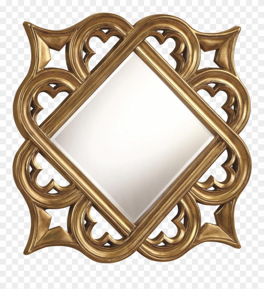 Golden Mirror Frame Free Png Image.