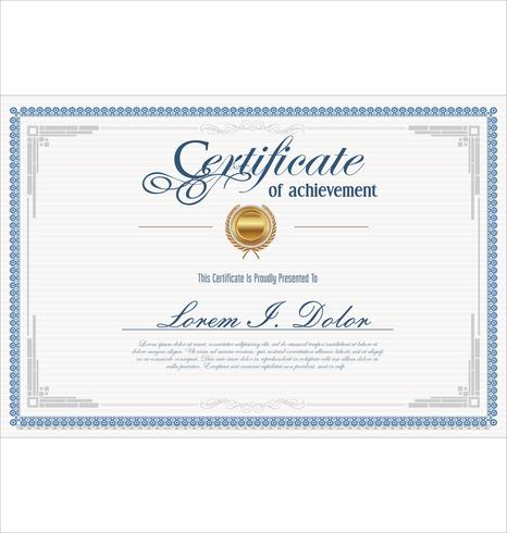 Certificate or diploma retro vintage template.