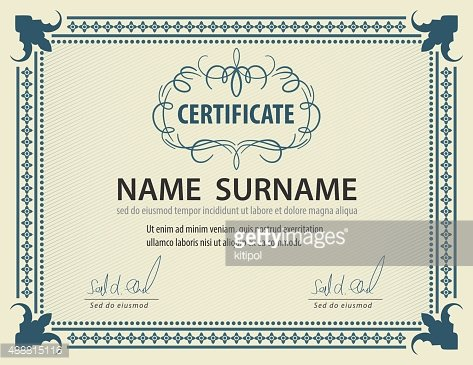 horizontal vintage certificate template,diploma,Letter size.