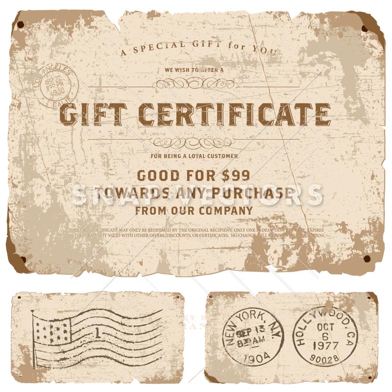 Vector Vintage Gift Certificate Template.