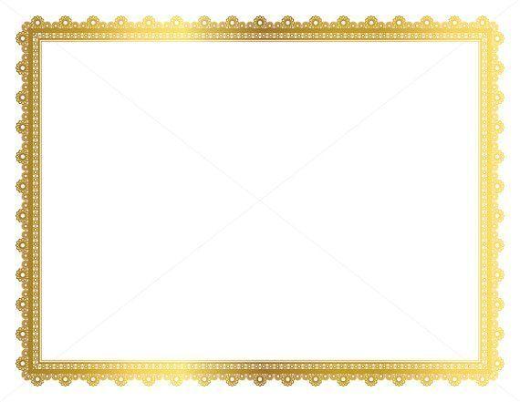 Gold Decorative Frame, Page Border, Digital Frame, Border.