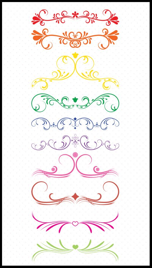 10 Colorful Vintage Dividers, Dividers Clip Art, Flourish.