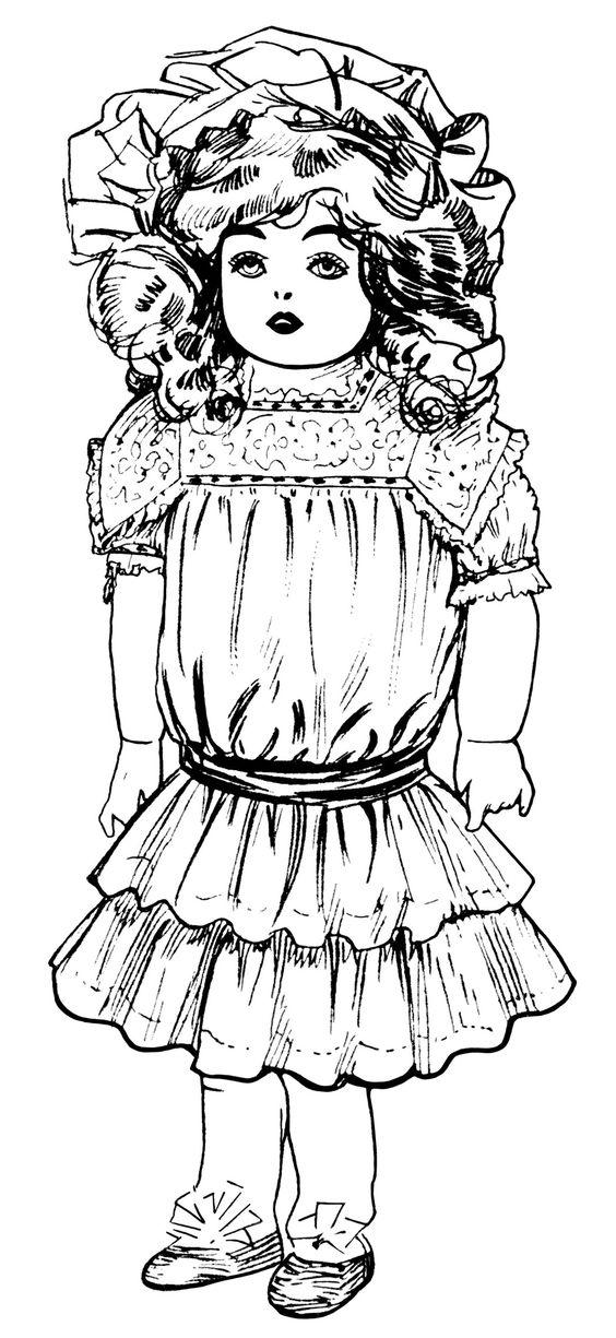 vintage doll clip art victorian toys illustration black and.