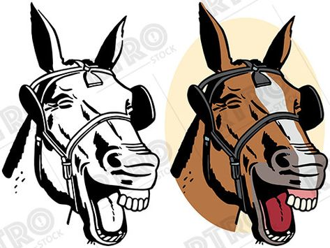 A cartoon of a laughing horse\'s head vintage retro clipart.
