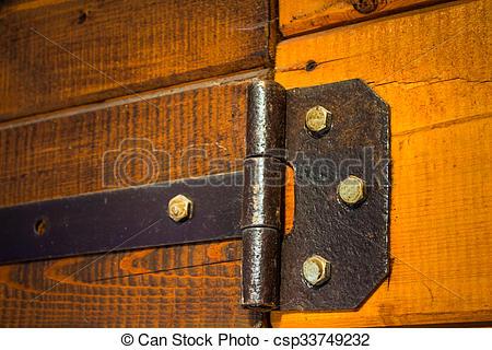 Stock Photos of Vintage iron door hinges.