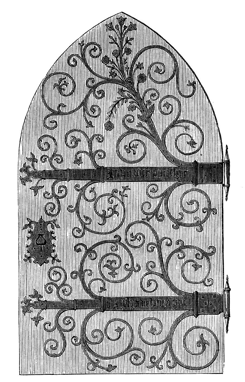 Ornate Door Hinge. Vintage Clip Art.