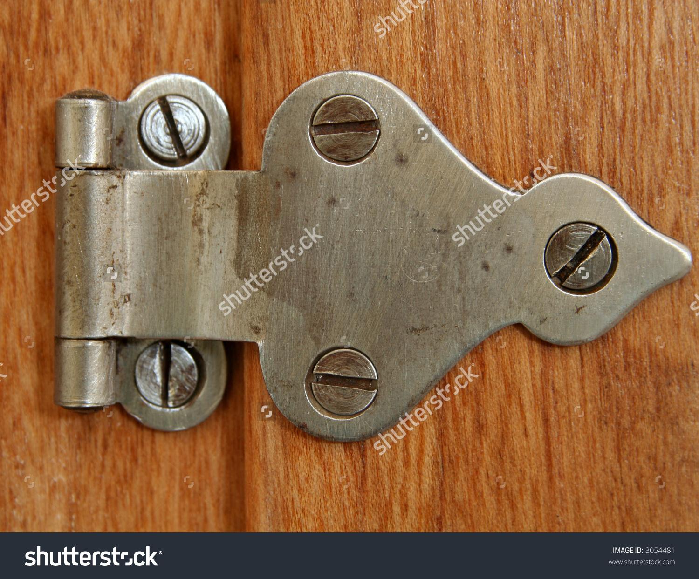 Close Old Hinge On Wooden Door Stock Photo 3054481.