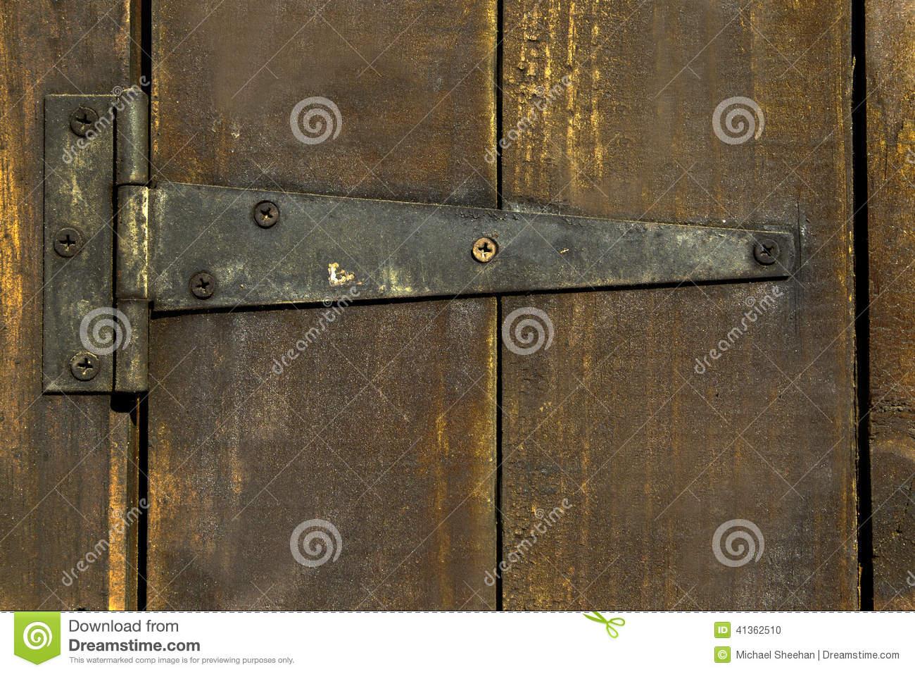 Old Wooden Door With Hinge Stock Photo.