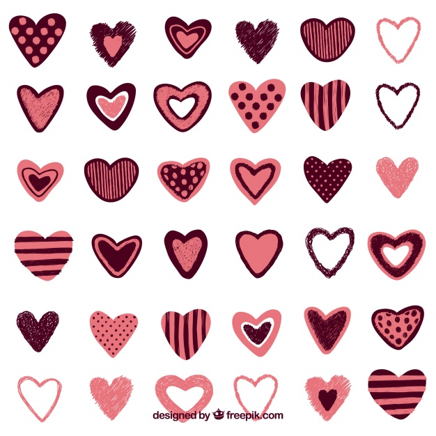 Collection of vintage hand drawn hearts Vector.