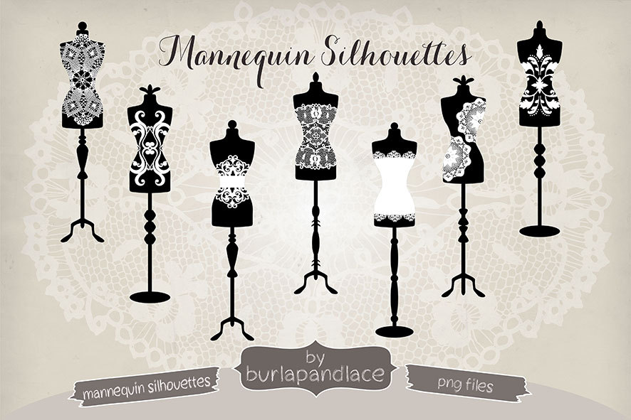 Vintage Dress Form Clipart Shilouette.