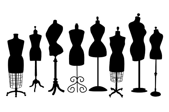 Vintage Dress Form Clip Art.