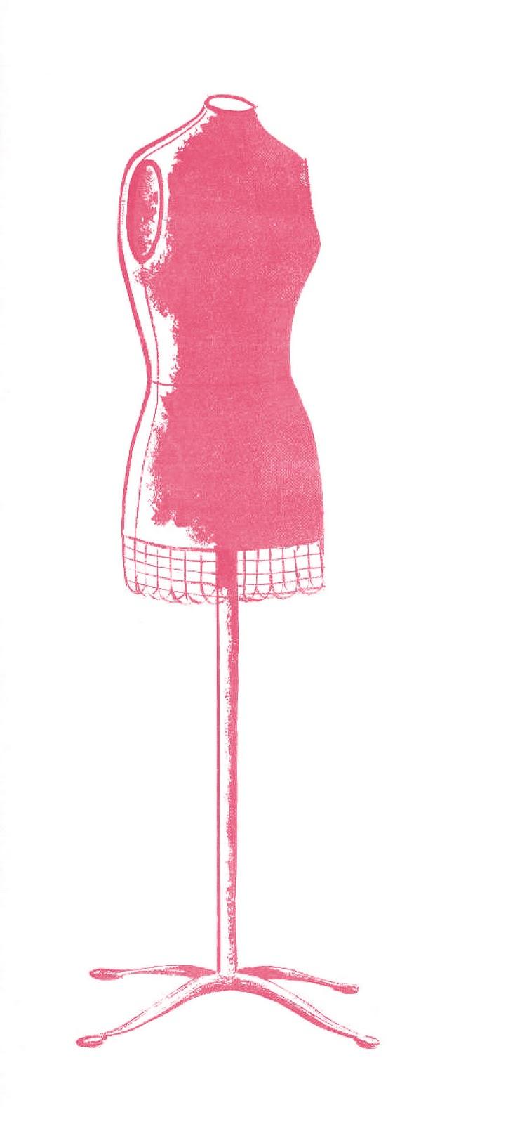 Vintage Dress Form Clip Art free image.