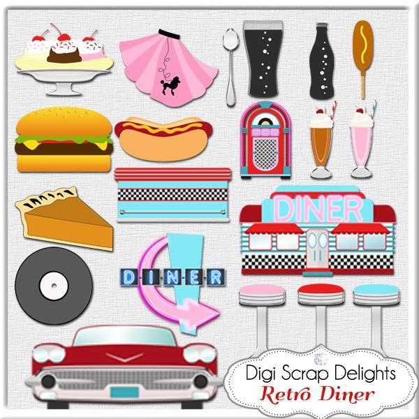 Retro Diner Sign Clipart.