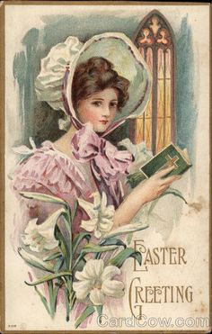 vintage easter postcard, angel clip art, old fashioned easter card.