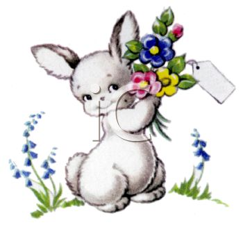 Vintage Easter Bunny Holding Flowers Clipart.