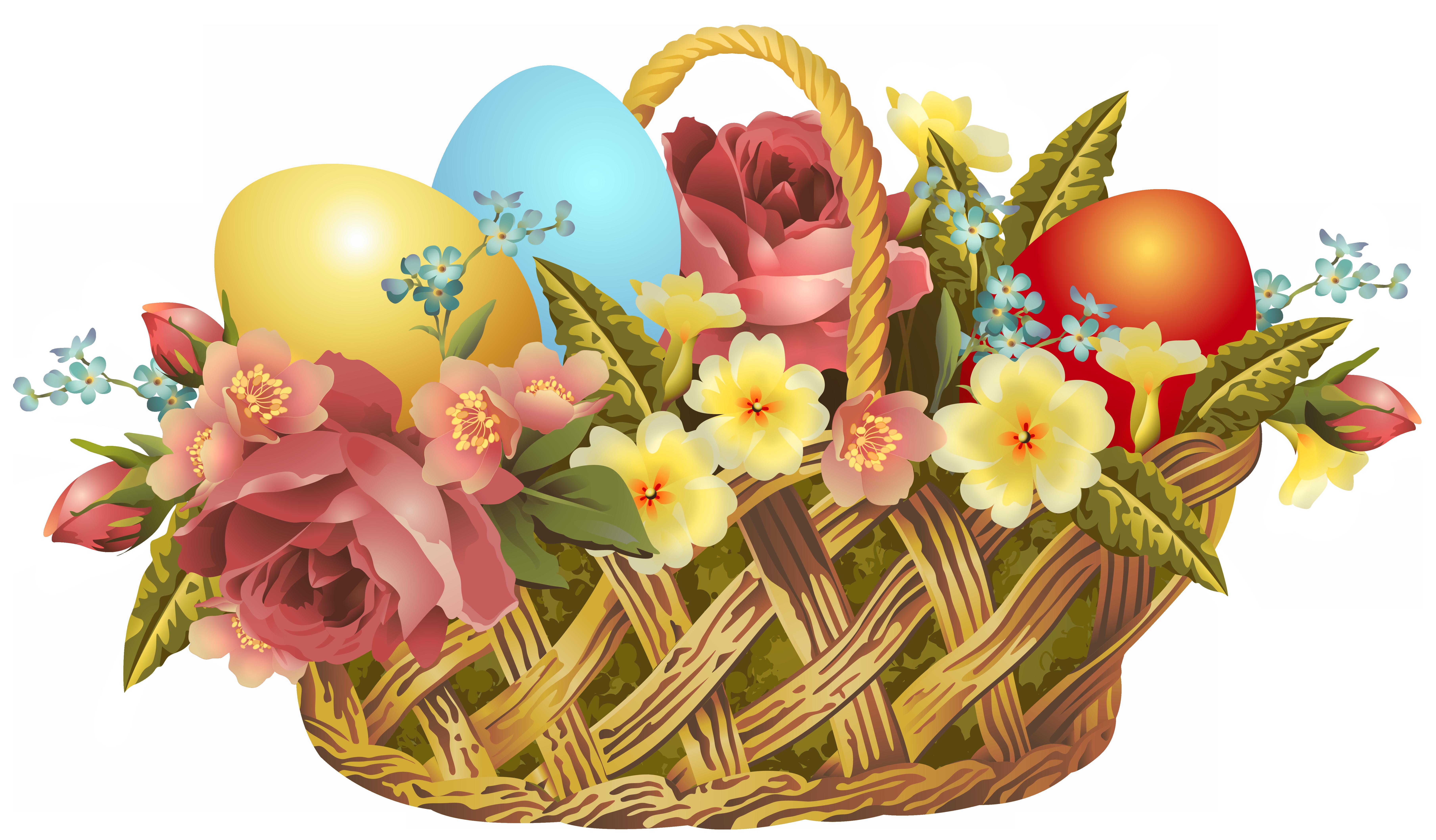 Vintage Easter Basket Transparent PNG Clip Art Image.