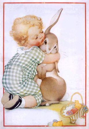 Vintage Easter Graphic: Baby Hugging Bunny. Will love showing this.