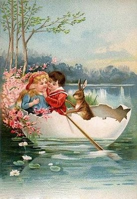 Lovely vintage Easter card for kids. A little boy and girl sailing.