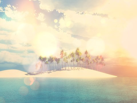 3D palm tree island with vintage effect Clipart Image.