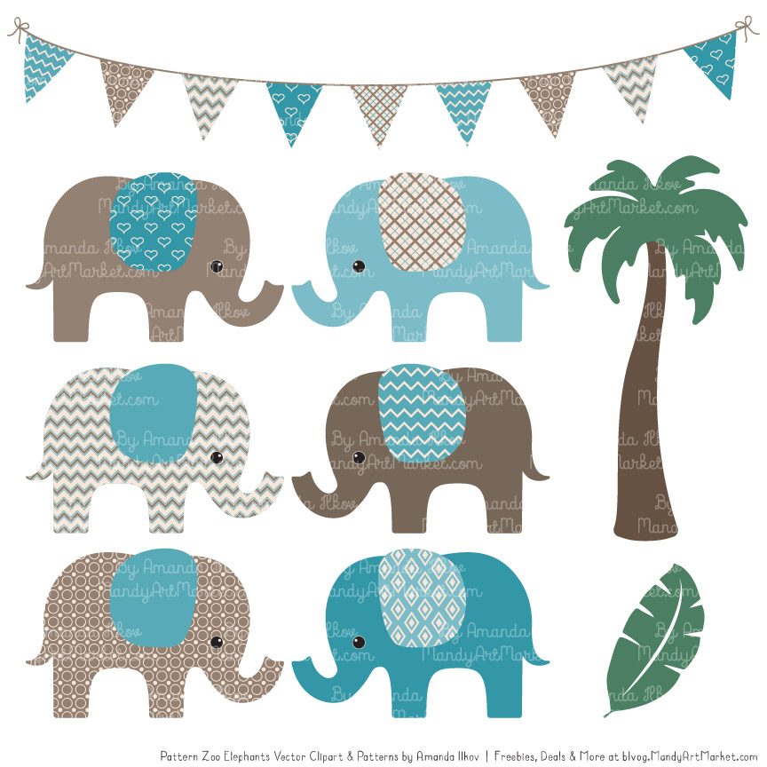 Vintage Blue Patterned Elephant Clipart and Patterns.