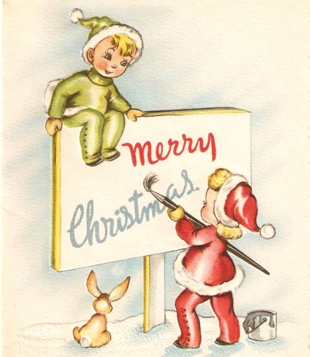 Vintage Christmas Card Elves Bunny.