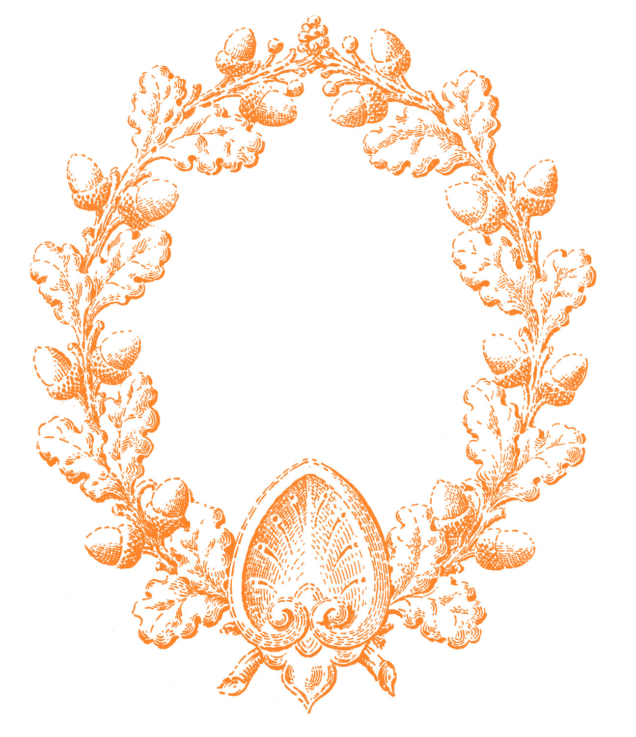 Vintage Fall Clip Art Oak Leaf.