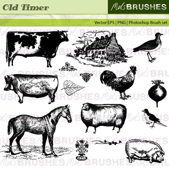 Free vintage animal vectors. Get them here: http://www.melsbrushes.