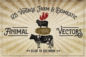 Vintage Farm Animal Clipart.